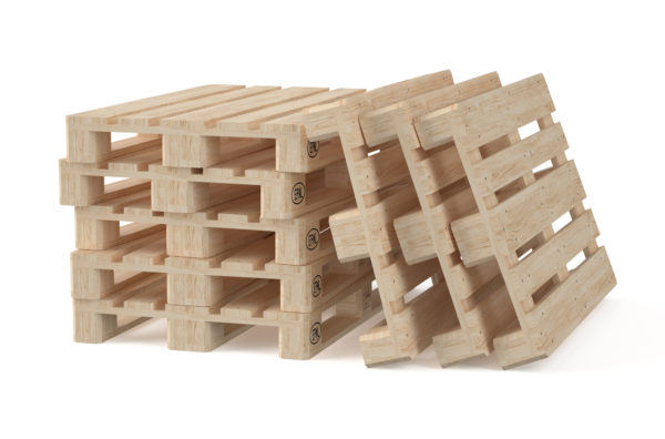 wooden eur pallets isolated on white background